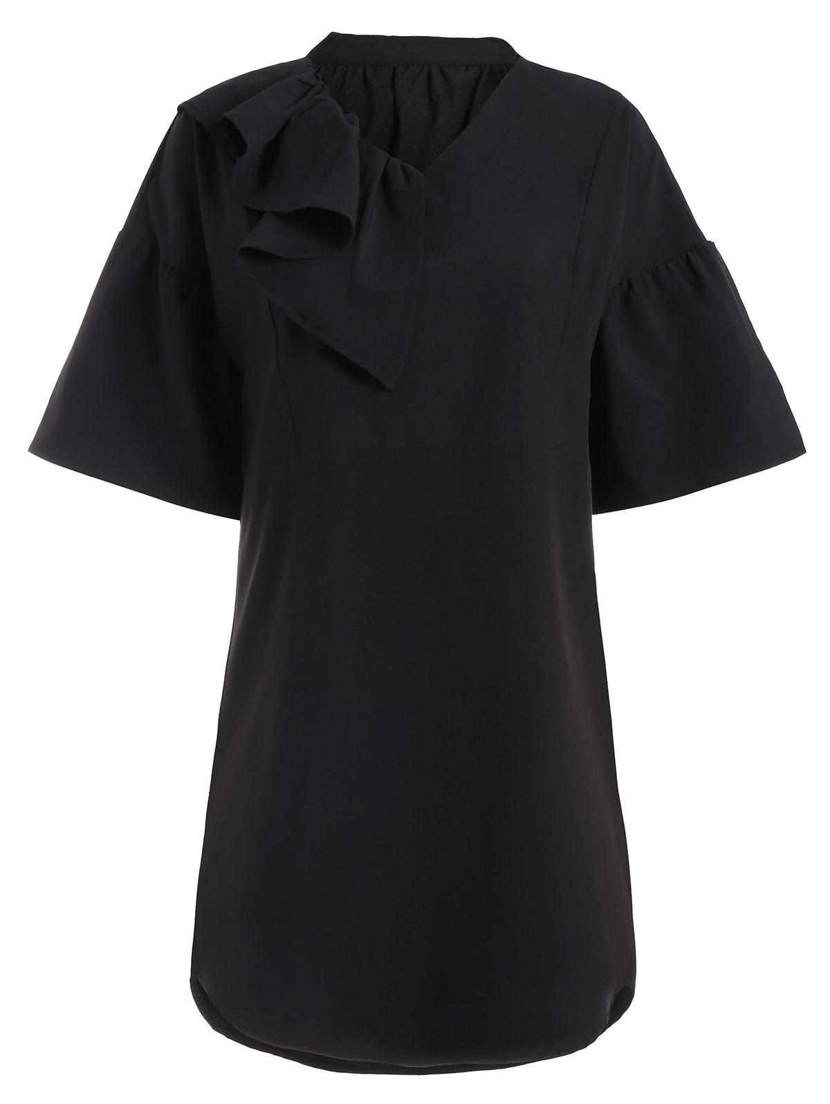 Ruffled Plus Size Shift Dress - Noir 2XL