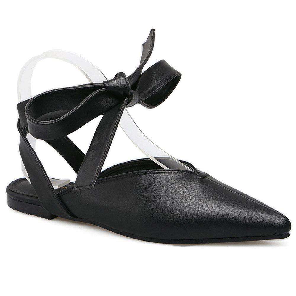 Slingback Point Toe Lace Up Flats - BLACK 38