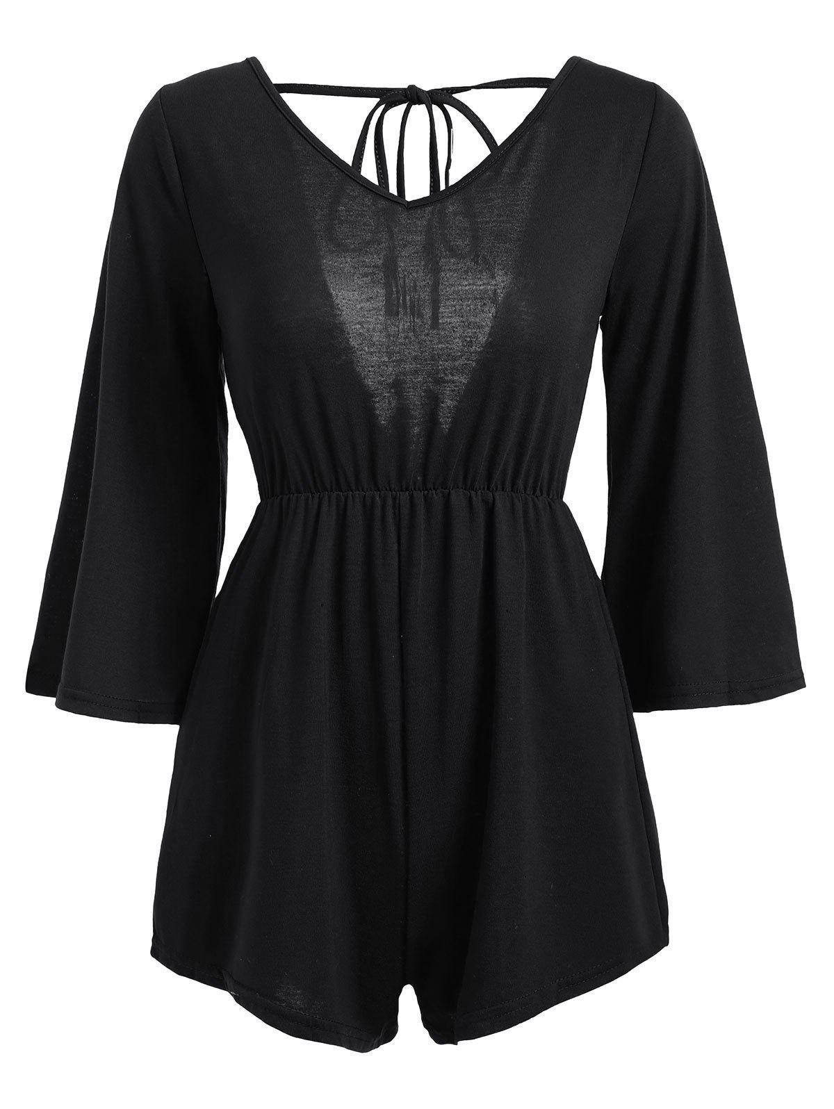 Tassel Open Back V Neck Romper - BLACK L