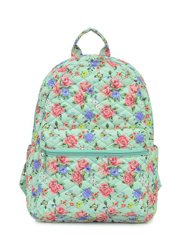 Polyester Zippers Color Block Backpack - GREEN