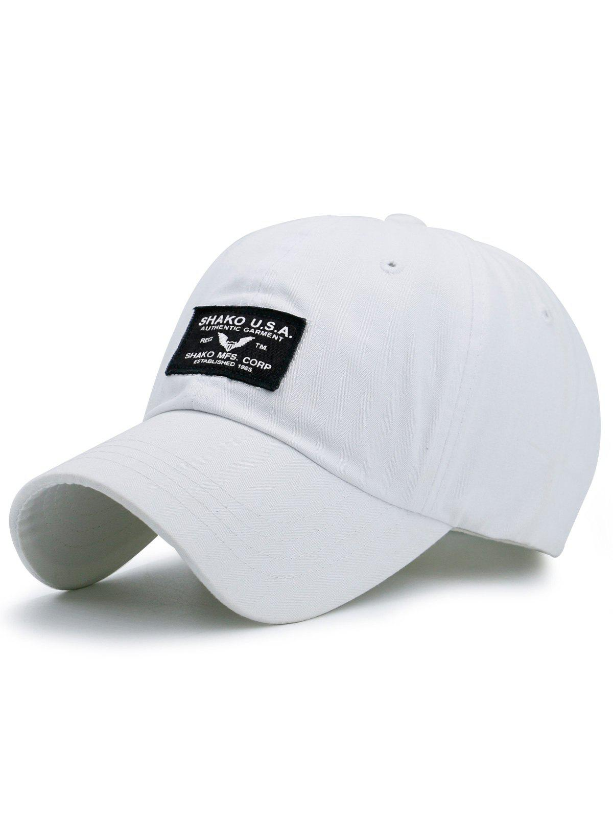Outdoor Letters Patchwork Baseball Cap - WHITE