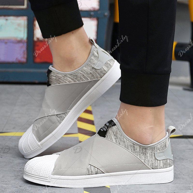 Stretch Fabric Elastic Band Casual Shoes - GRAY 44