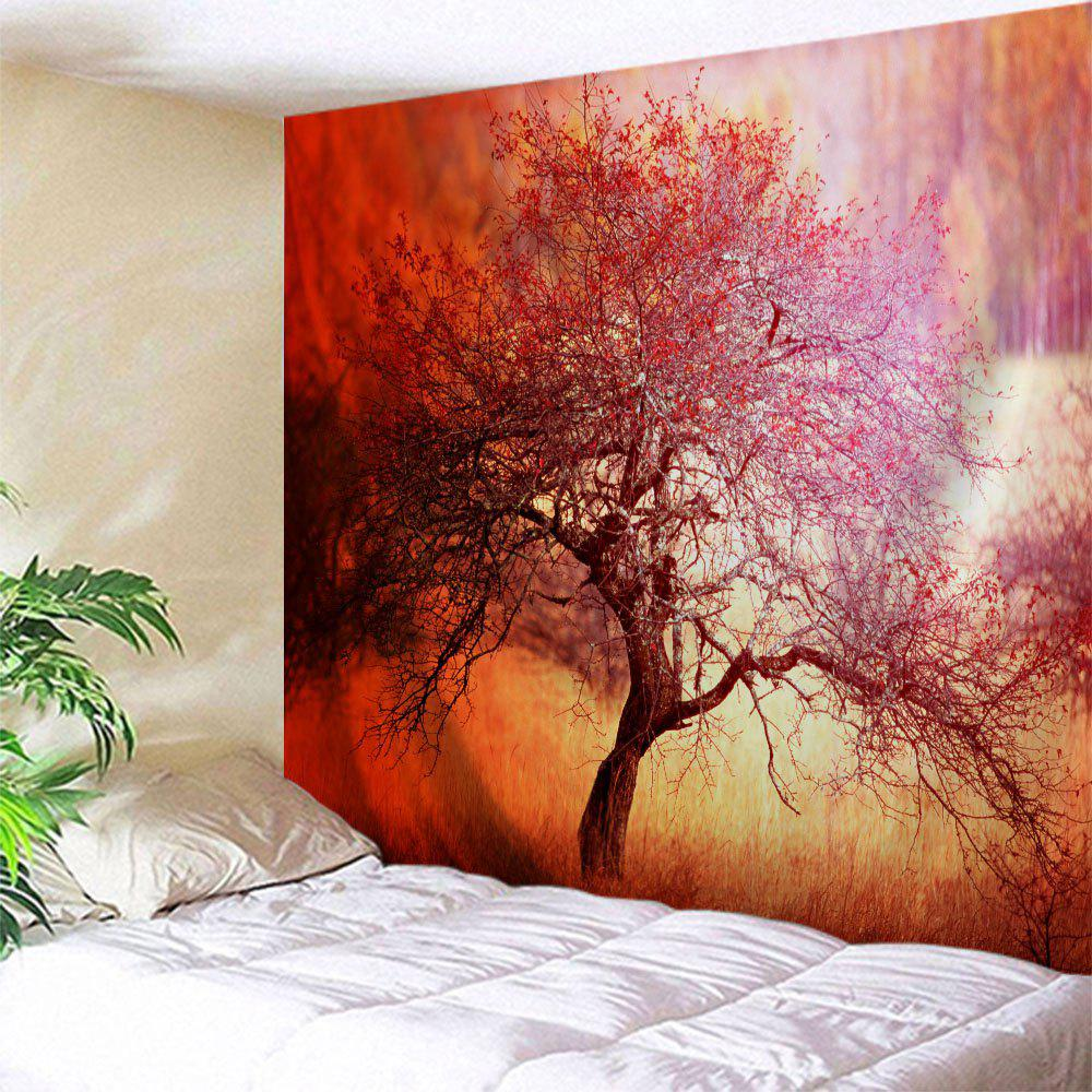 Branchy Tree Print Tapestry Wall Hanging Art - ORANGE RED W71 INCH * L91 INCH