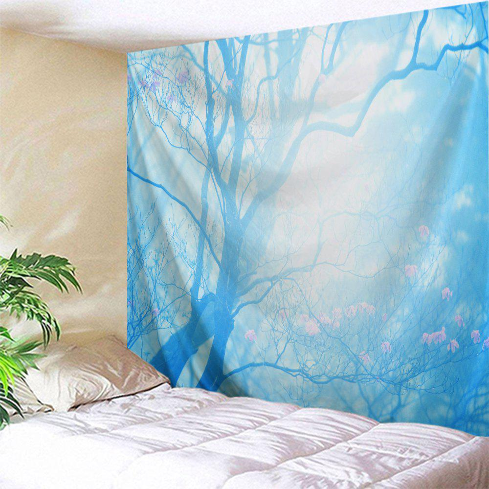 Floral Tree Print Tapestry Wall Hanging Art - Bleu Glacé W71 INCH * L79 INCH