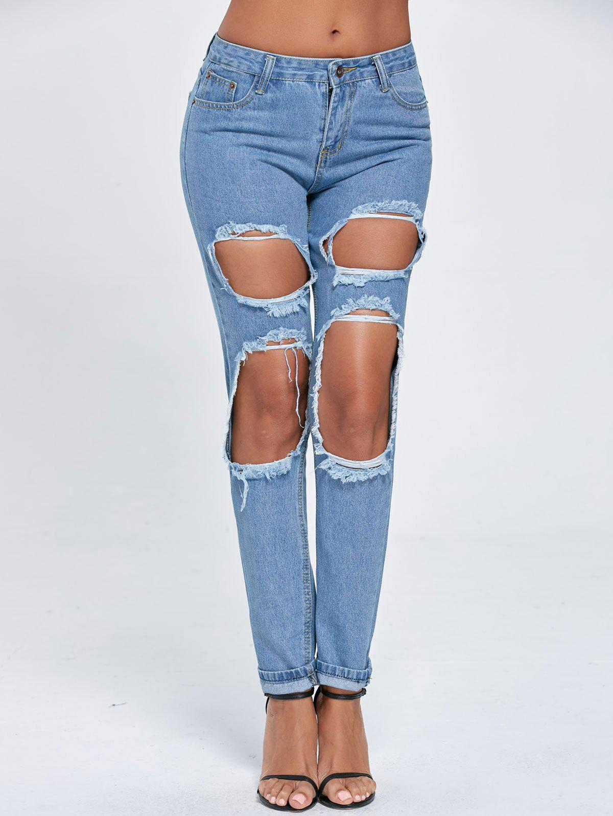Distressed Cut Out Boyfriend Jeans - BLUE L
