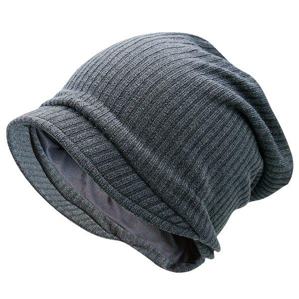 Striped Warm Knitting Beanie - GRAY