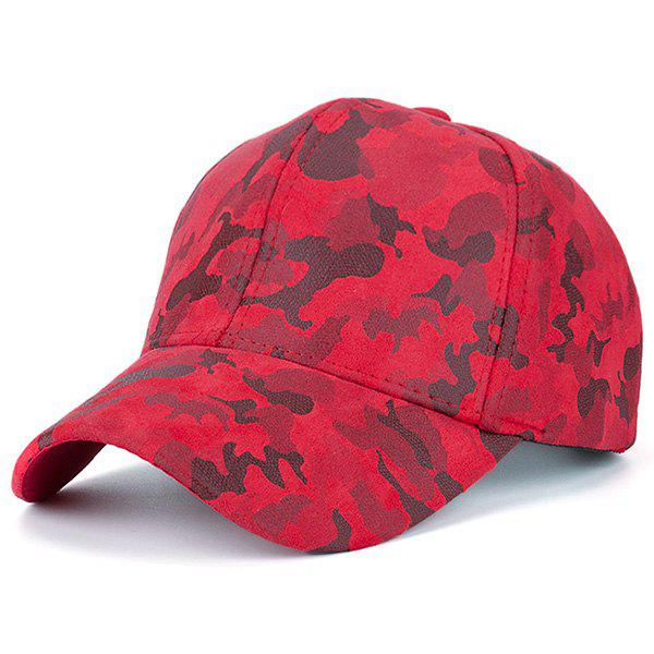Faux Suede Camo Pattern Baseball Cap - RED