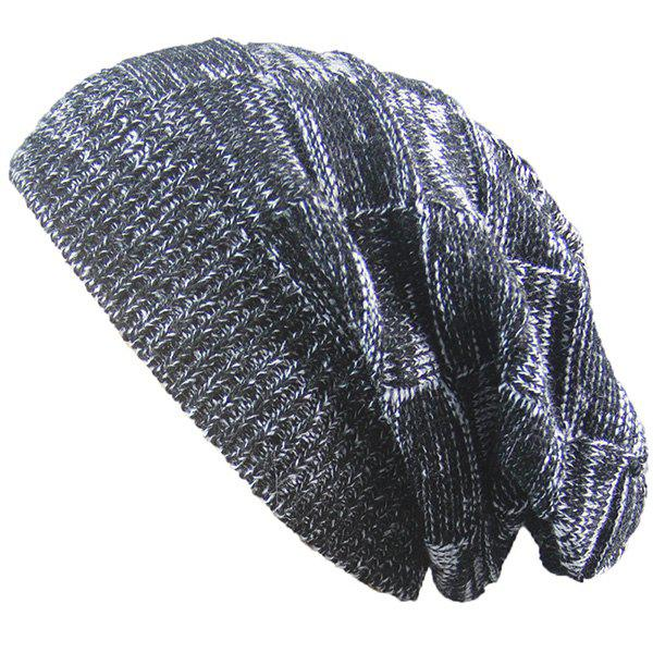 Warm Striped Rib Knitted Beanie - BLACK