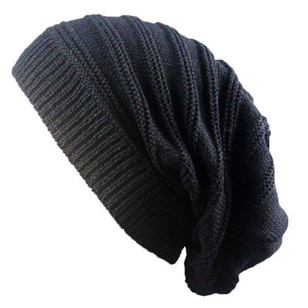 Stacking Stripe Ribbing Knitted Beanie - BLACK