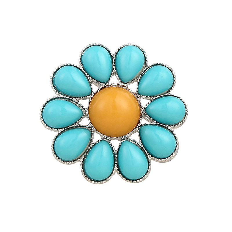 Teardrop Floral Round Brooch - BLUE