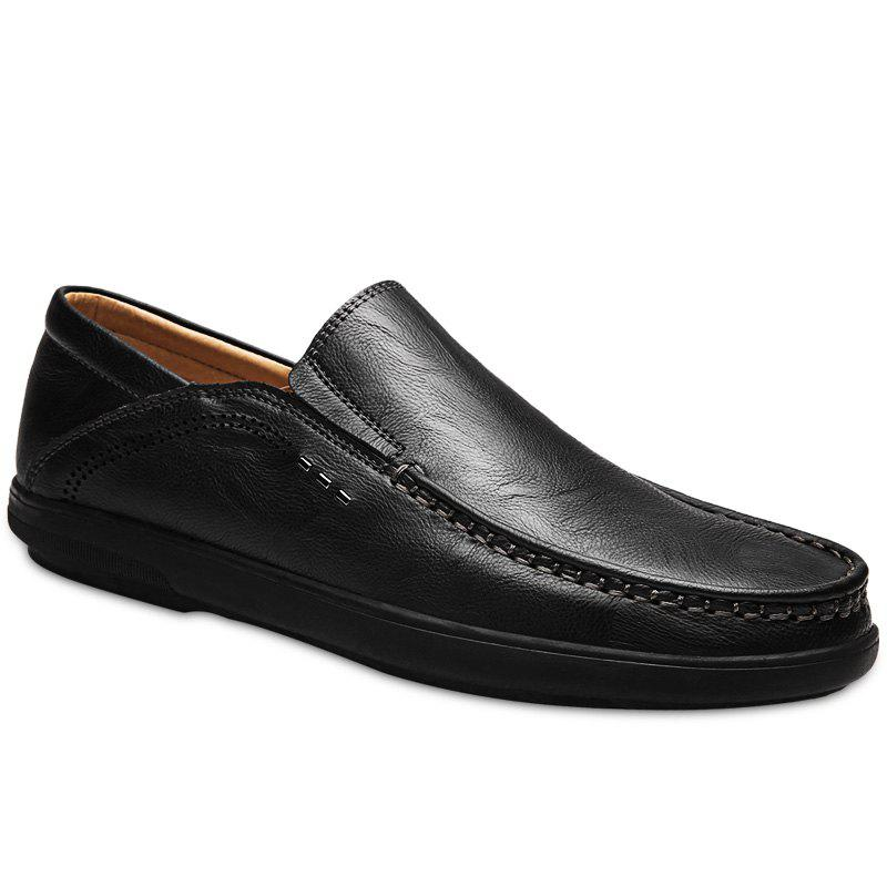 Slip On Faux Leather Casual Shoes - BLACK 42