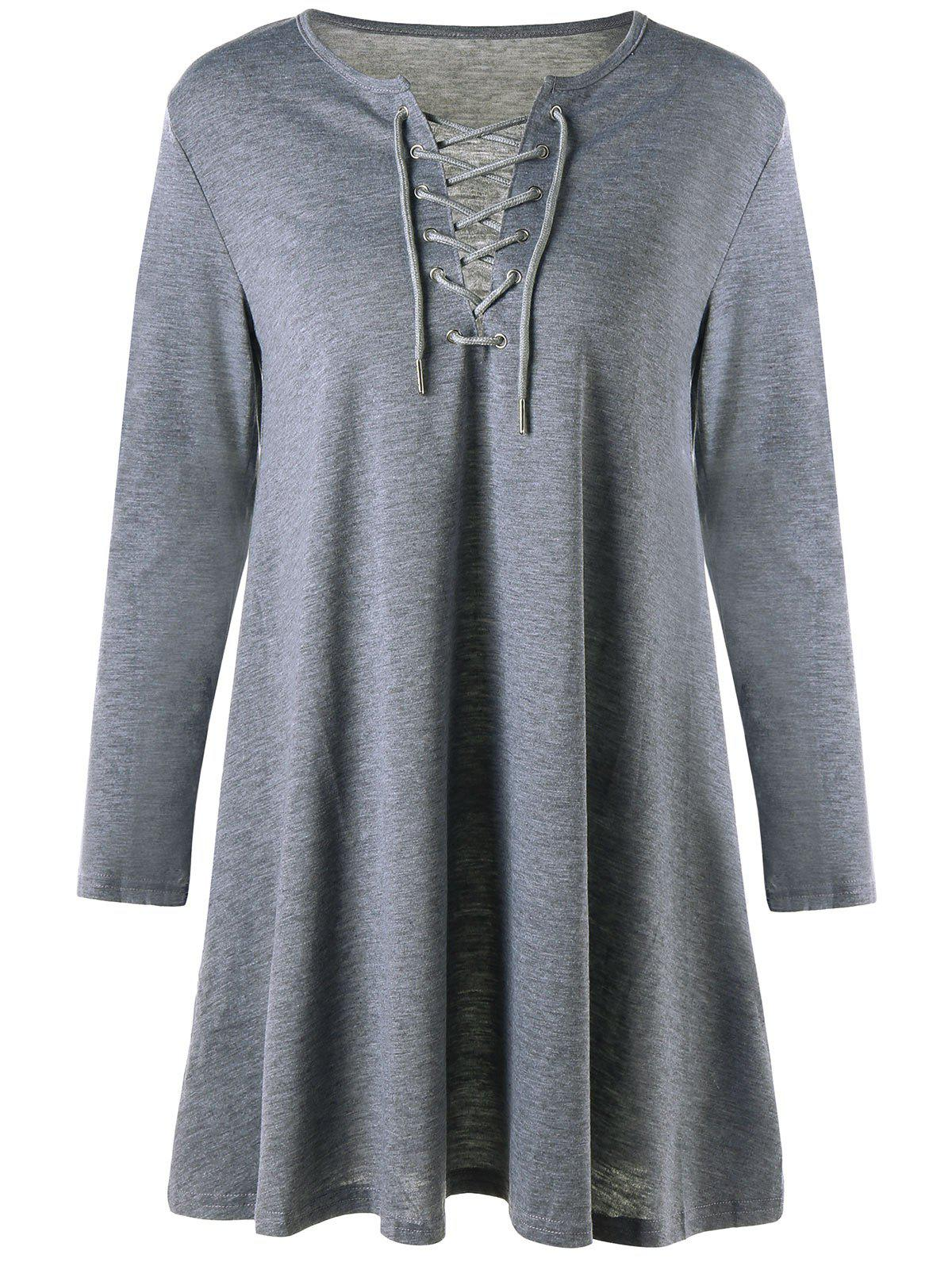 Lattice Long Sleeve Mini Shift Dress - GRAY XL