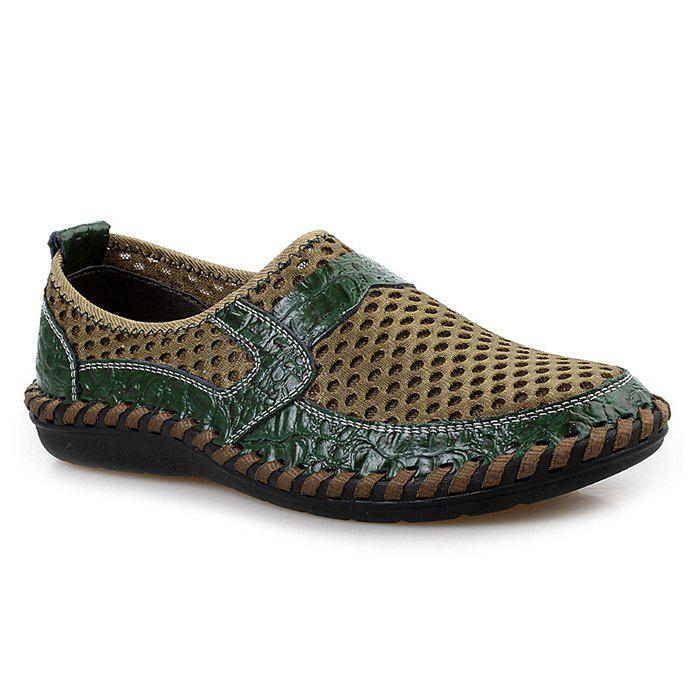 Hollow Out Faux Leather Panels Slip On Sneakers - GREEN 41