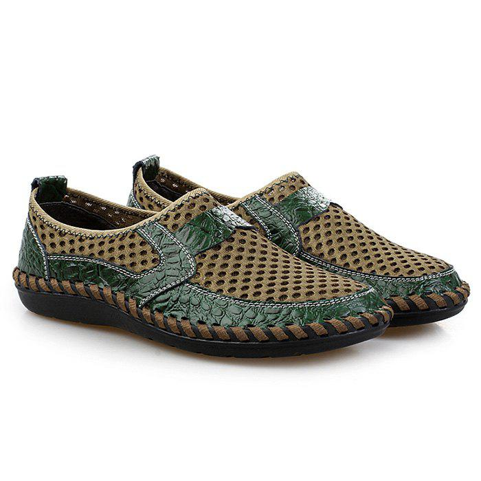 Hollow Out Faux Leather Panels Slip On Sneakers - GREEN 43