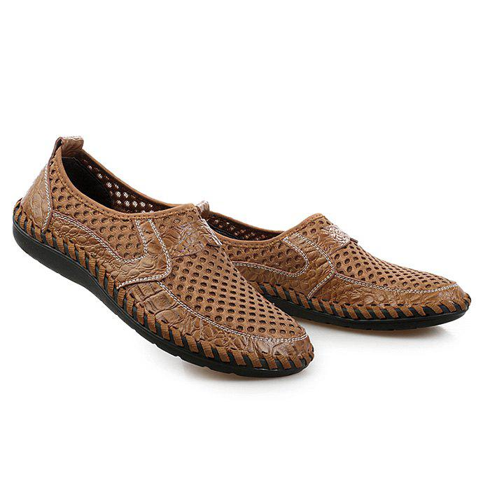 Hollow Out Faux Leather Panels Slip On Sneakers - BROWN 40