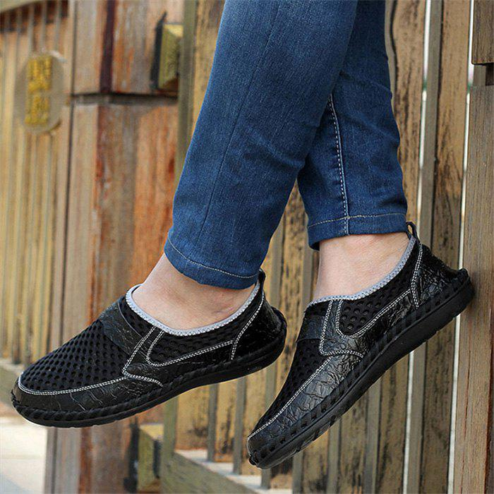 Hollow Out Faux Leather Panels Slip On Sneakers - BLACK 41