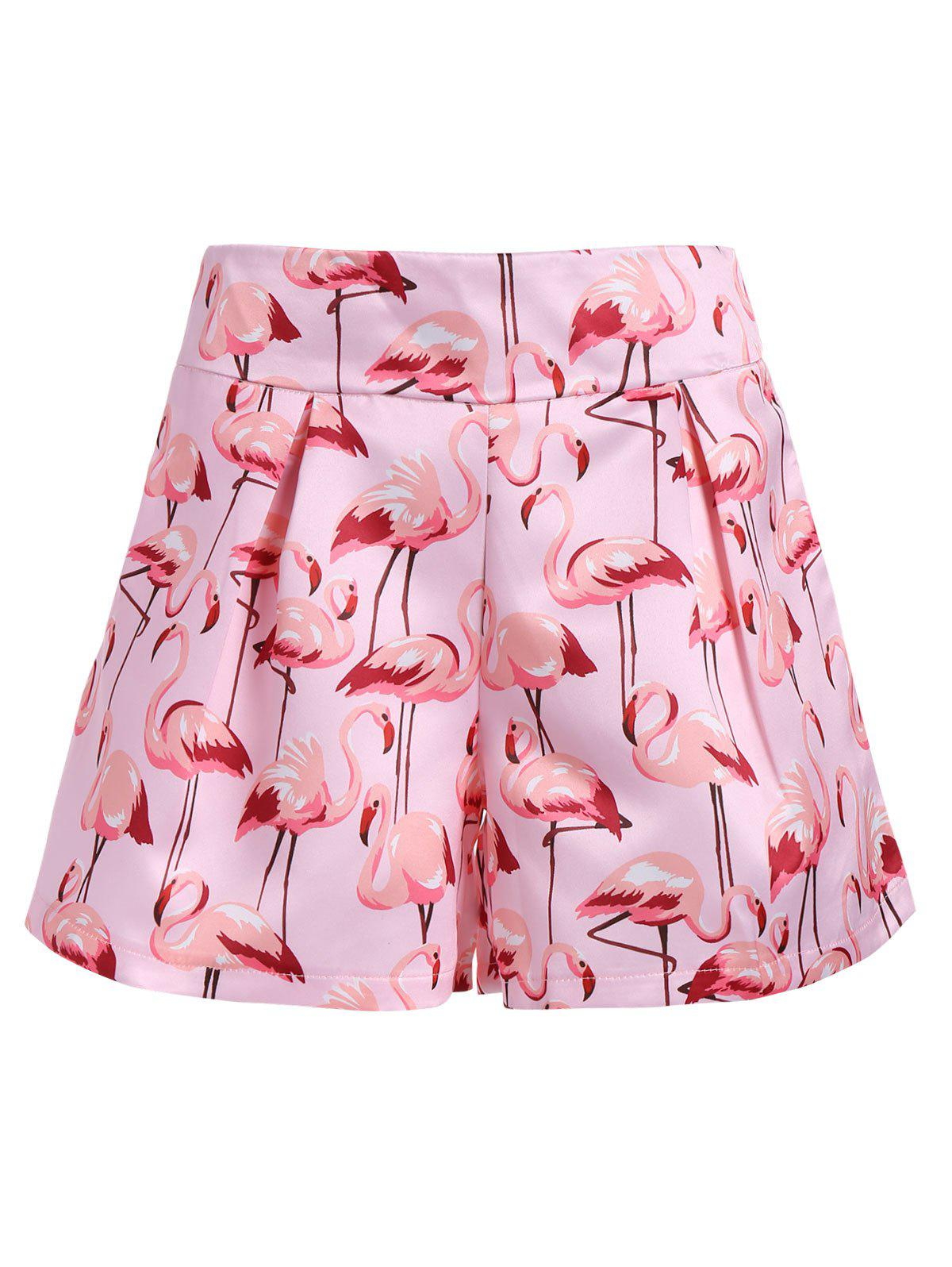 High Waist Flamingo Print Mini Shorts - LIGHT PINK L
