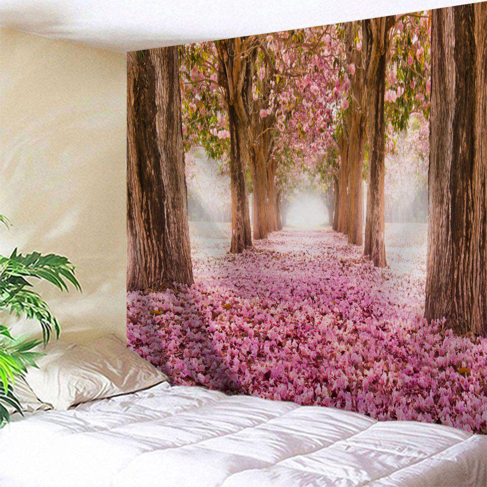 Sakura Scenery Throw Fabric Wall Hanging Tapestry - PINK W71 INCH * L79 INCH