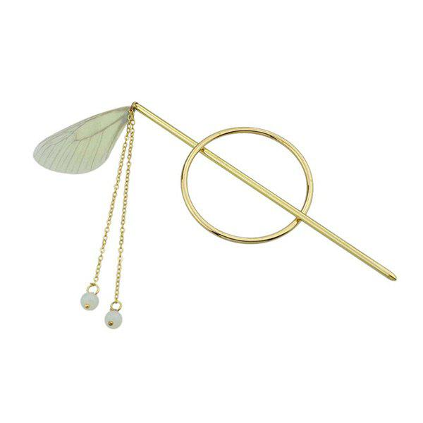 Fringed Chain Circle Beads Hair Stick - YELLOW