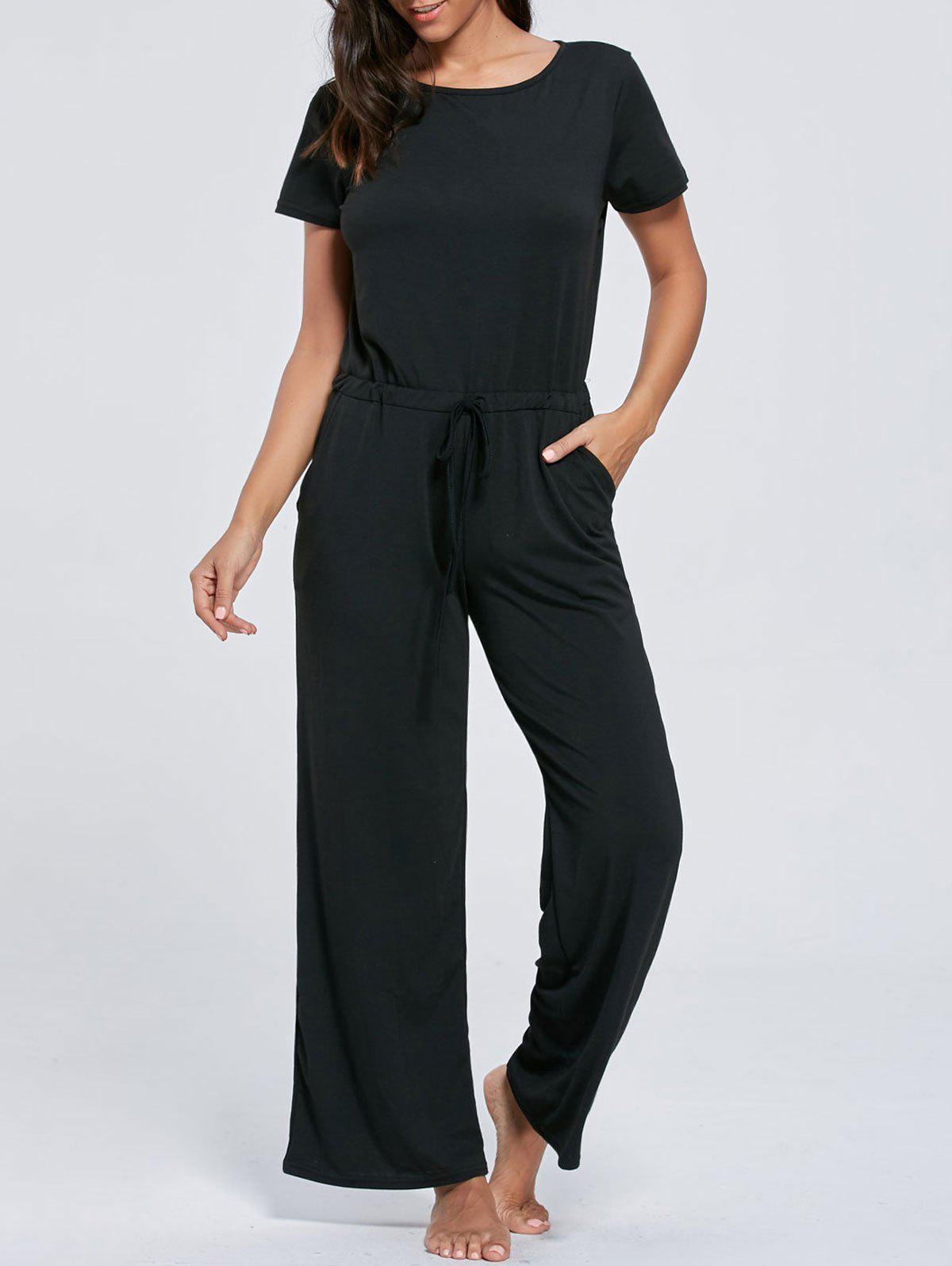 Short Sleeve Pocket Drawstring Jumpsuit - BLACK XL