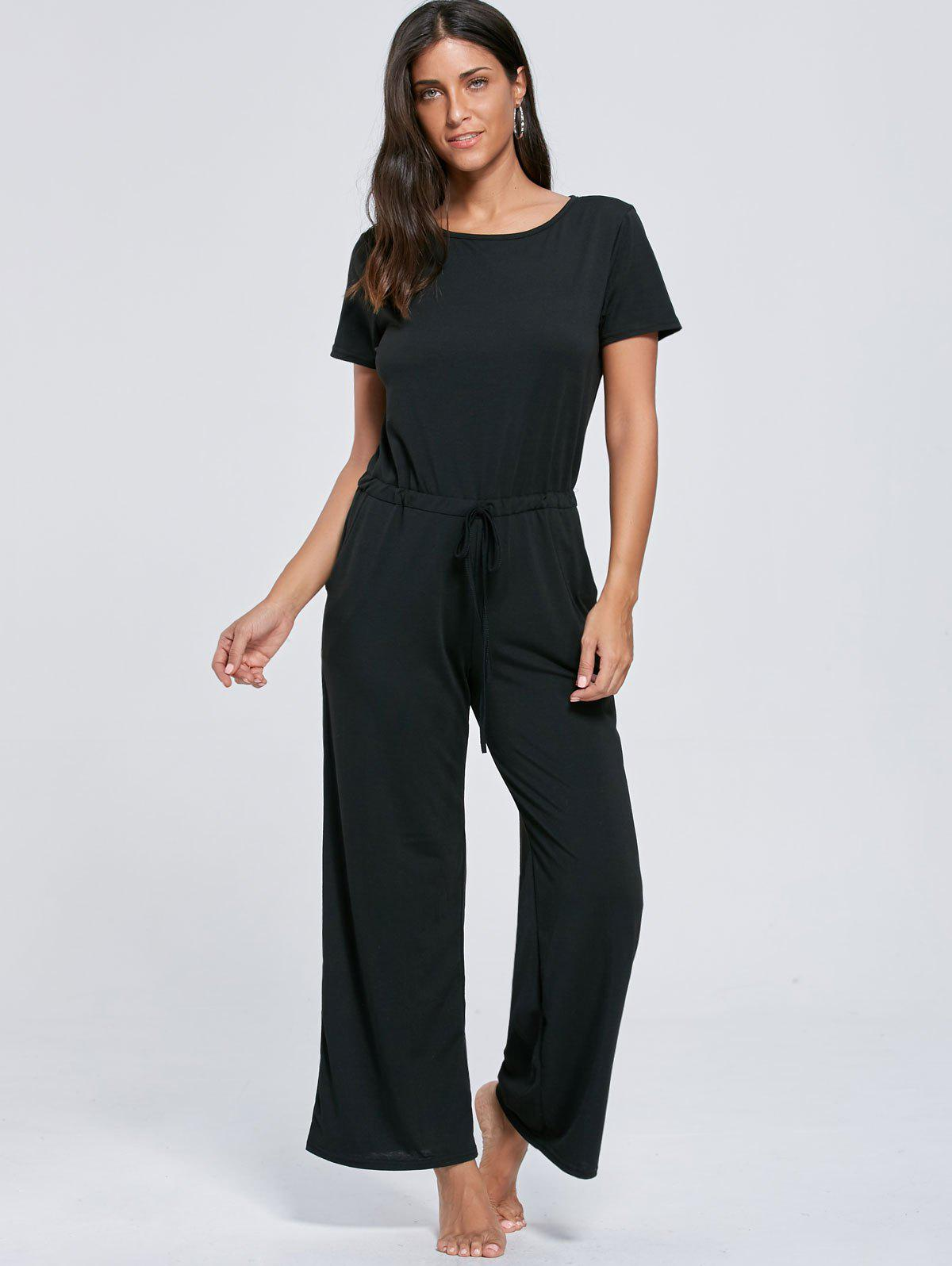 Short Sleeve Pocket Drawstring Jumpsuit - BLACK S
