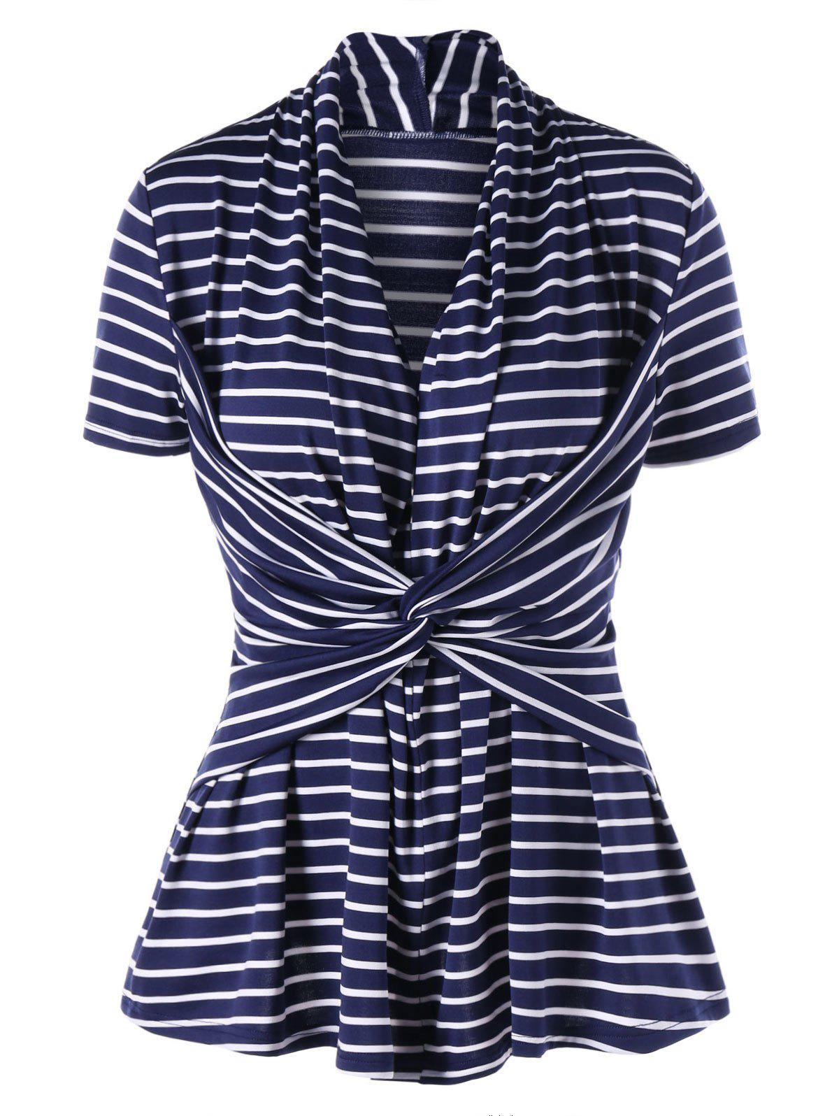 Twist Front Striped Slim Top - Bleu Violet XL
