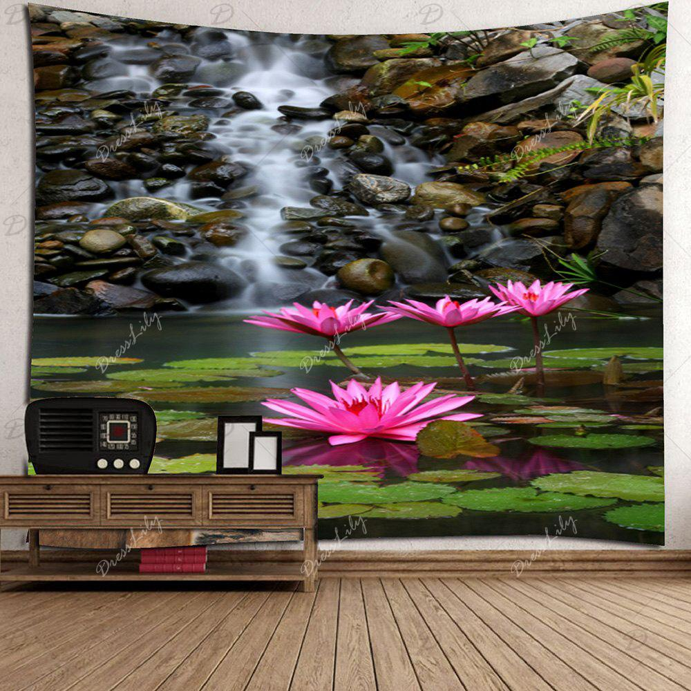 Lotus Pond Print Wall Art Tapestry - multicolorcolore W71 INCH * L71 INCH
