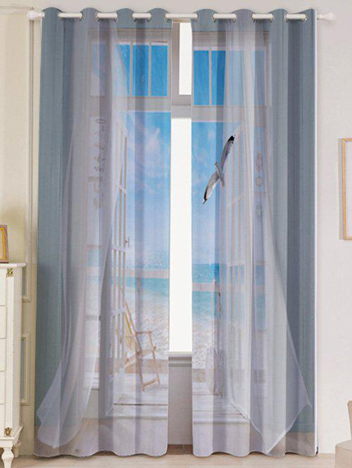 2Pcs Faux Window Seagull Printed Lightproof Window Curtains