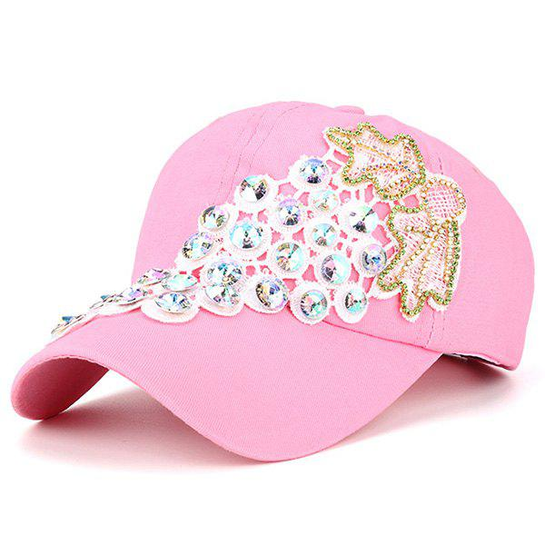 Grape Patchwork Rhinestone Baseball Cap - PINK