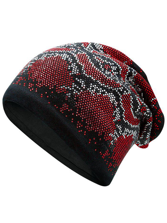 Hot Fix Rhinestone Knitting Beanie - Rouge