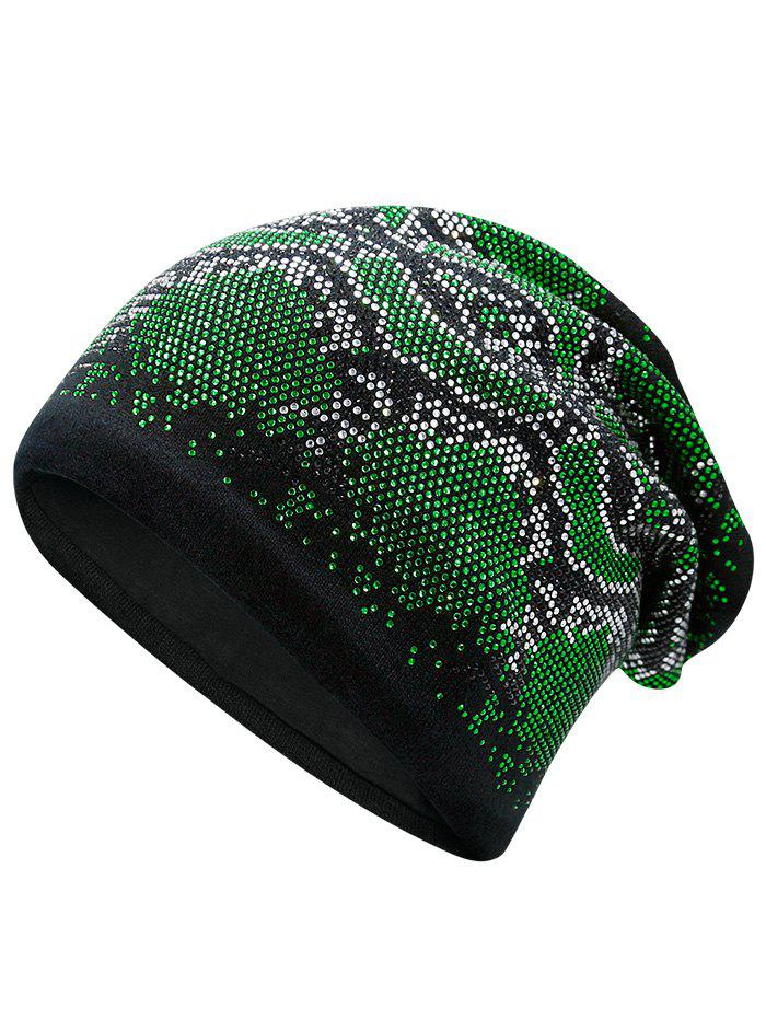 Hot Fix Rhinestone Knitting Beanie - GREEN