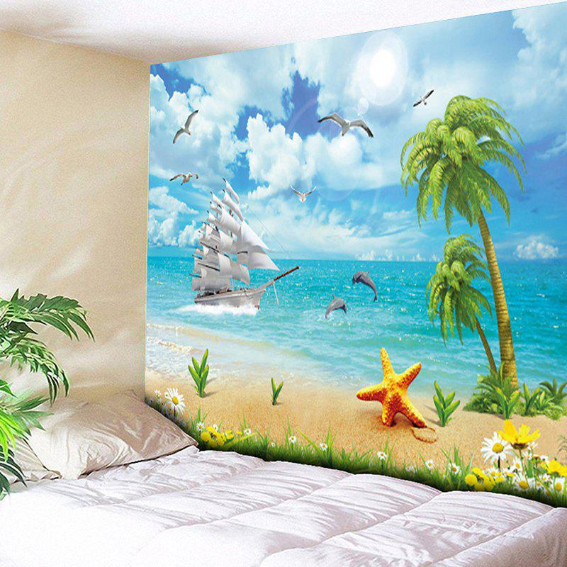 Beach Coconut Tree Print Wall Decor Tapestry - CLOUDY W59 INCH * L51 INCH