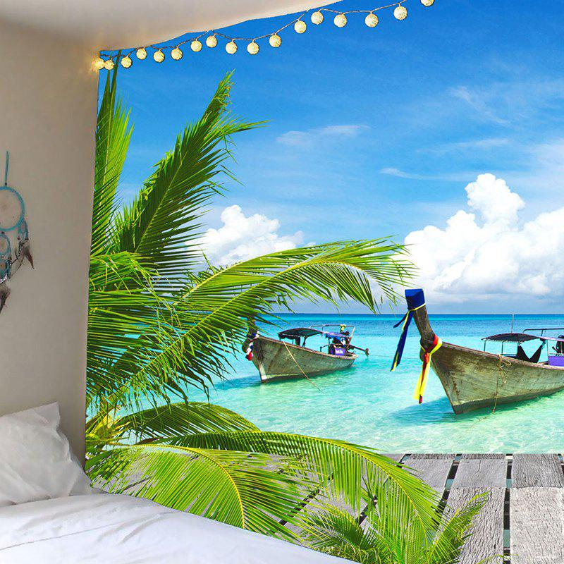 Fishing Boat Seascape Waterproof Wall Tapestry - LIGHT BLUE W79 INCH * L71 INCH