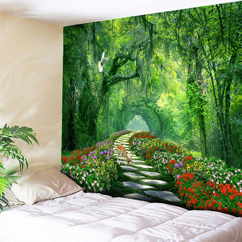 Wall Hanging Forest Path Pattern Tapestry, Green