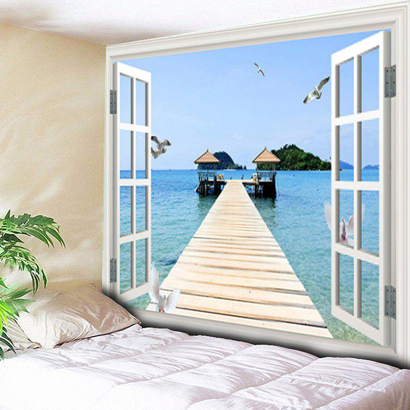 Window Scenery Pattern Wall Art Tapestry - COLORMIX W79 INCH * L59 INCH