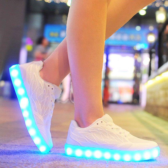 Led Luminou Breathable Athletic Shoes - WHITE 40