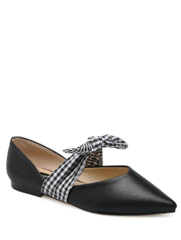 Faux Leather Tie Up Flat Shoes - BLACK 37