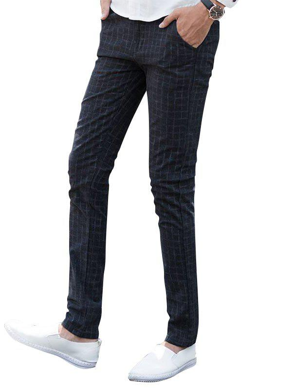 Checked Zip Fly Chino Pants - BLACK 38