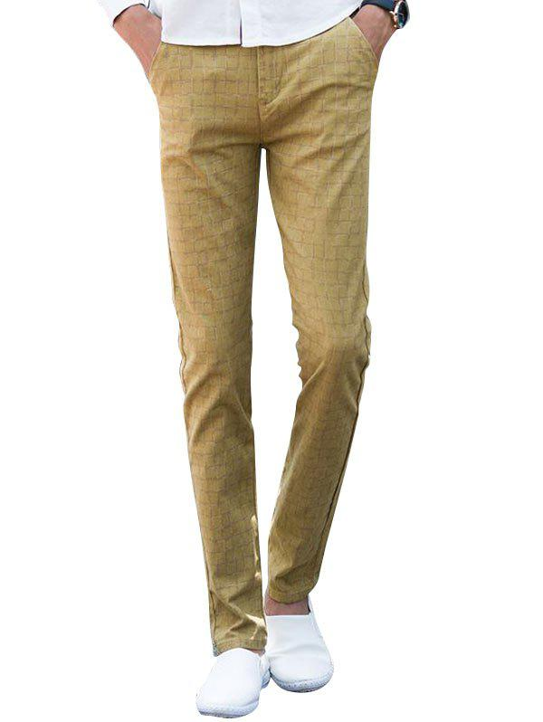 Checked Zip Fly Chino Pants - KHAKI 34
