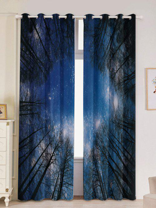2Pcs Forest Starry Sky Printed Lightproof Window Curtains - DEEP BLUE W53 INCH * L84.5 INCH