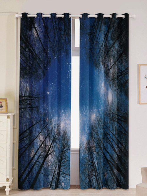 2Pcs Forest Starry Sky Printed Lightproof Window Curtains - LIGHT BLUE W53 INCH * L96.5 INCH