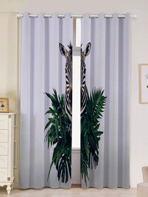 Lightproof 2Pcs Zebra Printed Window Curtains - GRAY W53 INCH * L96.5 INCH