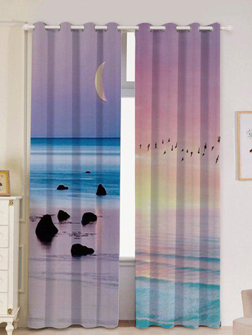2Pcs Lightproof Seaside Sunset Printed Window Curtains - COLORFUL W53 INCH * L96.5 INCH