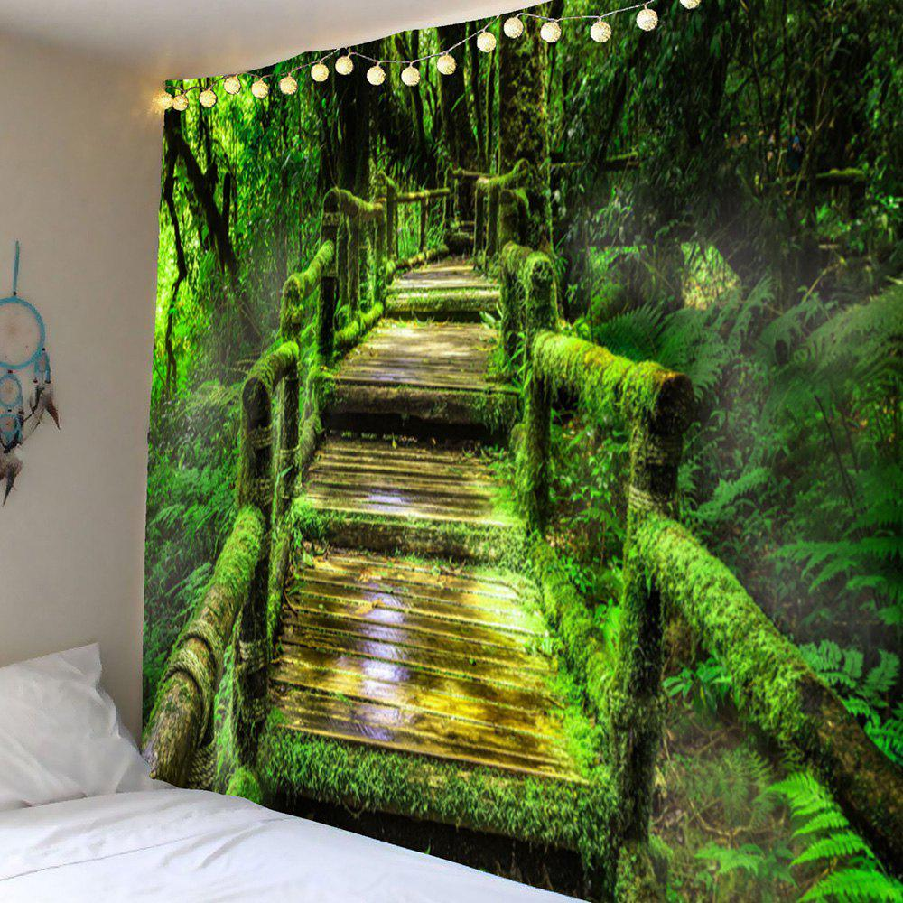 Forest Mosses Wood Pathway Wall Hanging Tapestry - GREEN W79 INCH * L71 INCH