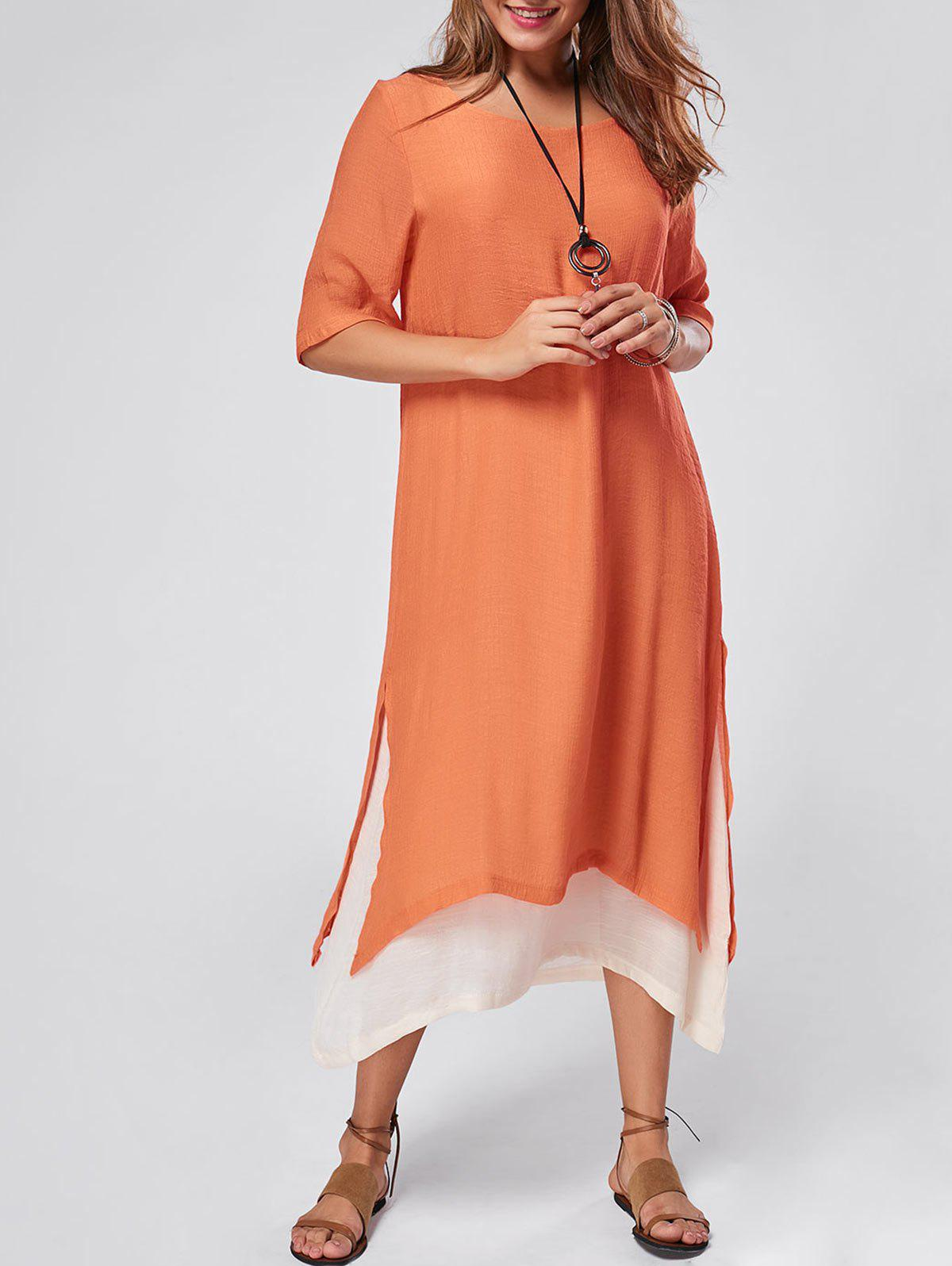 Robe de lin Maxi haute tenue asymétrique - Orange XL