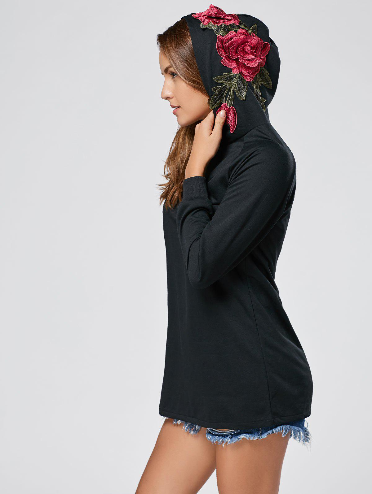 Floral Embroidered Tunic Hoodie - BLACK S