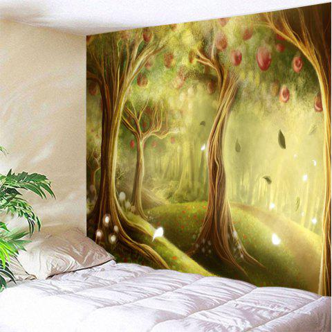 Fairy Apple Orchard Printed Wall Blanket Tapestry - YELLOW GREEN W71 INCH * L91 INCH