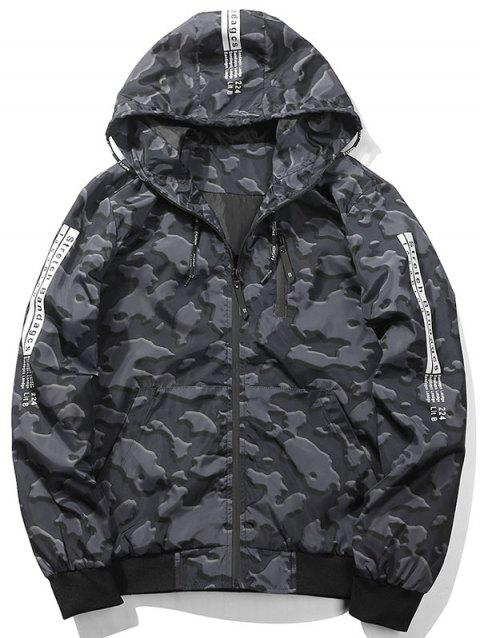 Zip Up Graphic Hooded Camouflage Jacket - DEEP GRAY L