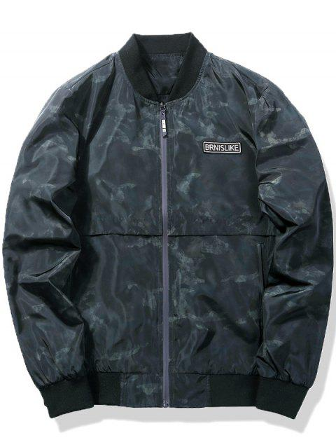 Zip Up Camo Pattern Bomber Jacket - Vert Armée L