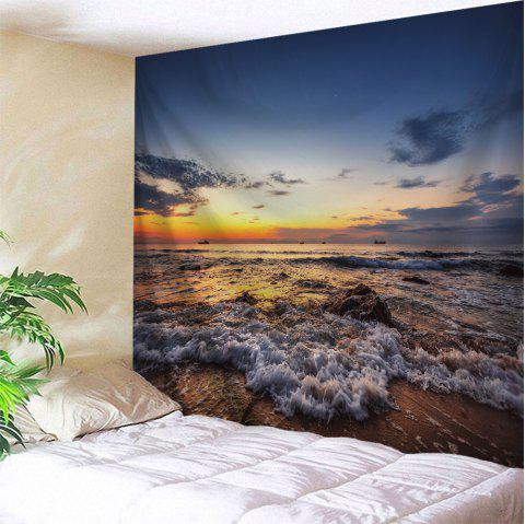 Sunset Beach Waves Print Tapisserie Wall Hanging Art - multicolore W51 INCH * L59 INCH